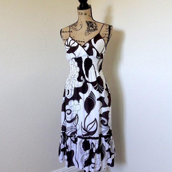 Bebe Dresses Brown And White Hawaiian Silk Sundress Size M